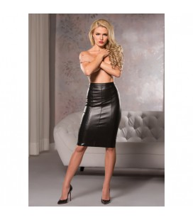 FAUX LEATHER KNEE LENGTH SKIRT